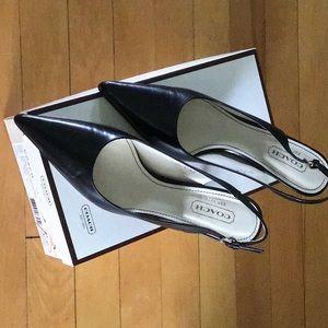 Coach black Alena Slingback pointed Toe heel pumps